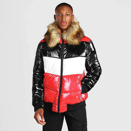 Mens Colour Block High Shine Fur Trim Hooded Winter Puffer Jacket