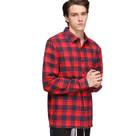 Customized Oversized Plaid Flannel Shirt Men