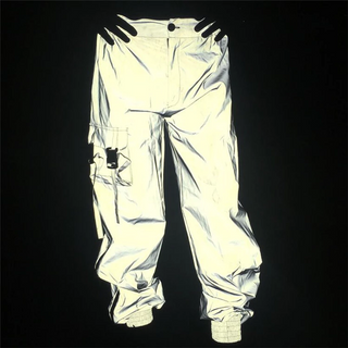 Wholesale Men Hip Hop Reflective Track Jogger Pants With Drawstring