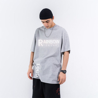 Casual Oversize Pure Colors Reflective Custom Logo Cotton T shirt Men 13 Colors